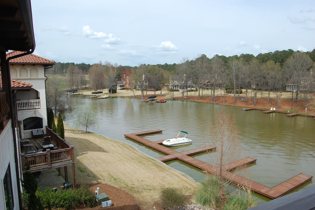 View of the dock off the 3rd floor balcony.