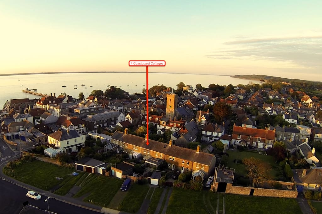 Arial view of Coastguard Cottages