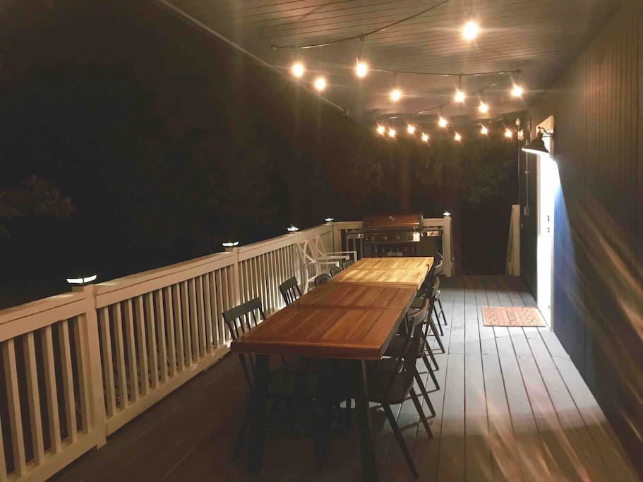 Back deck outdoor tables and BBQ area