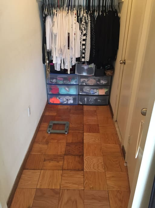 This is an open closet, in which would be empty and available for your stay
