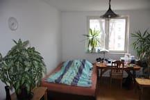 1 Zimmer mit Doppelbett und Einzelbett nähe Messe