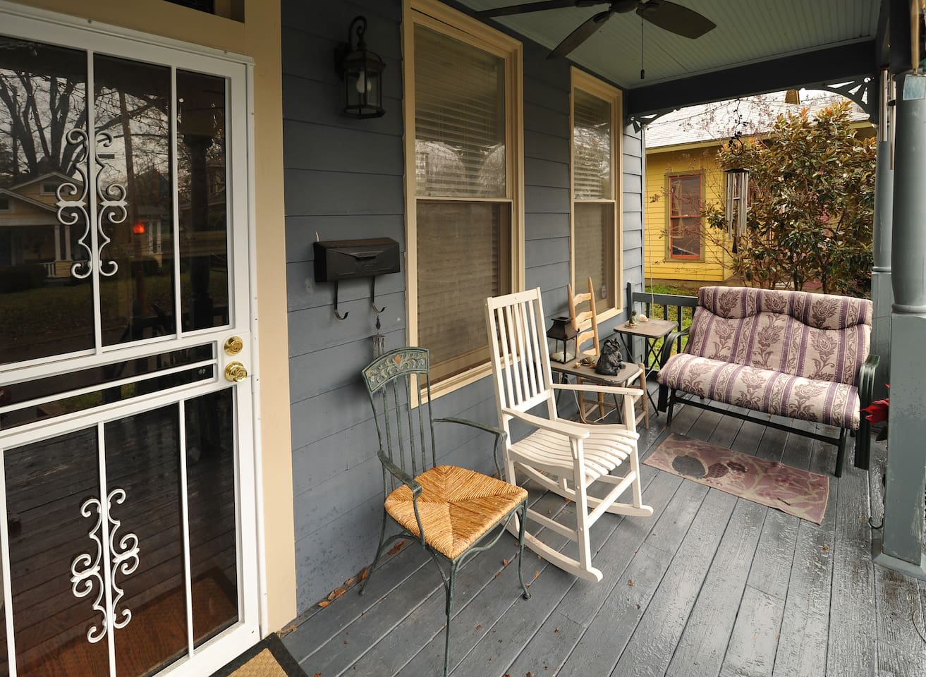 This is a nice sitting porch especially in the Spring and Fall. Has a full view of the life in and around Cooper Young Neighborhood.