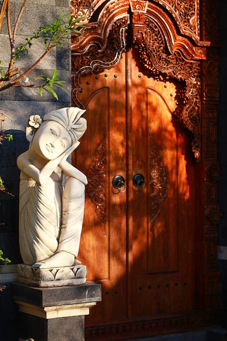 The handcrafted entry doors are a great foreshadowing of the beauty to come...