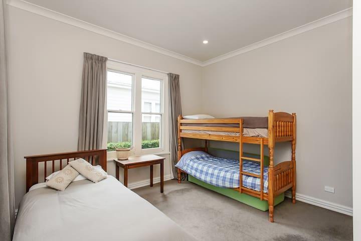 Bedroom 2, single bed plus bunk & spare mattresses