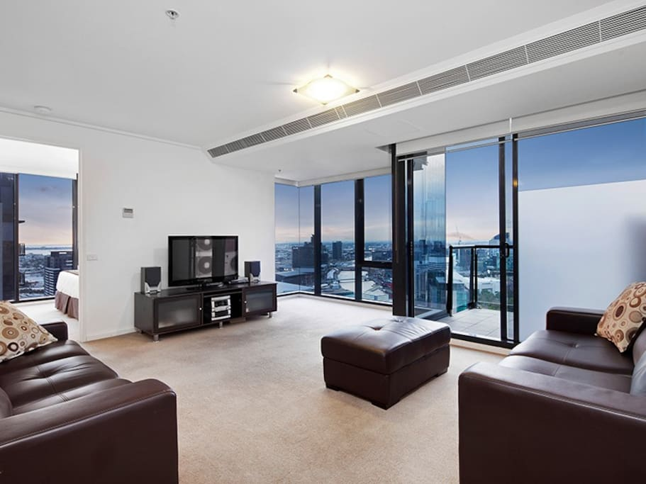 Living area with views across Melbourne
