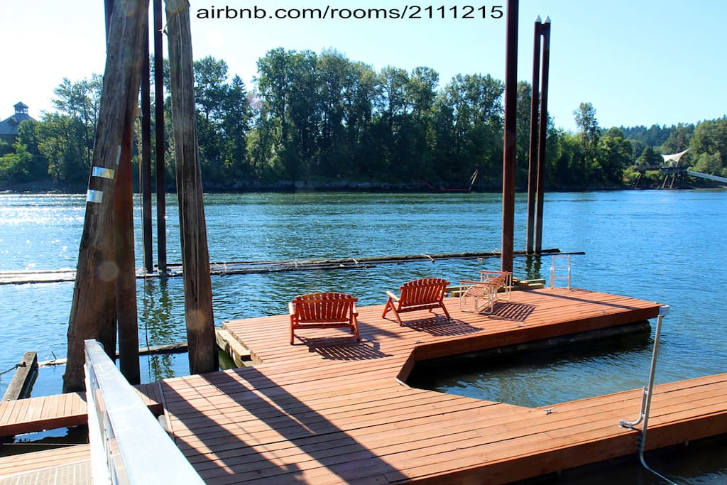 Waterside Seating on Dock. Swim Ladder and Kayak Loading Bracket