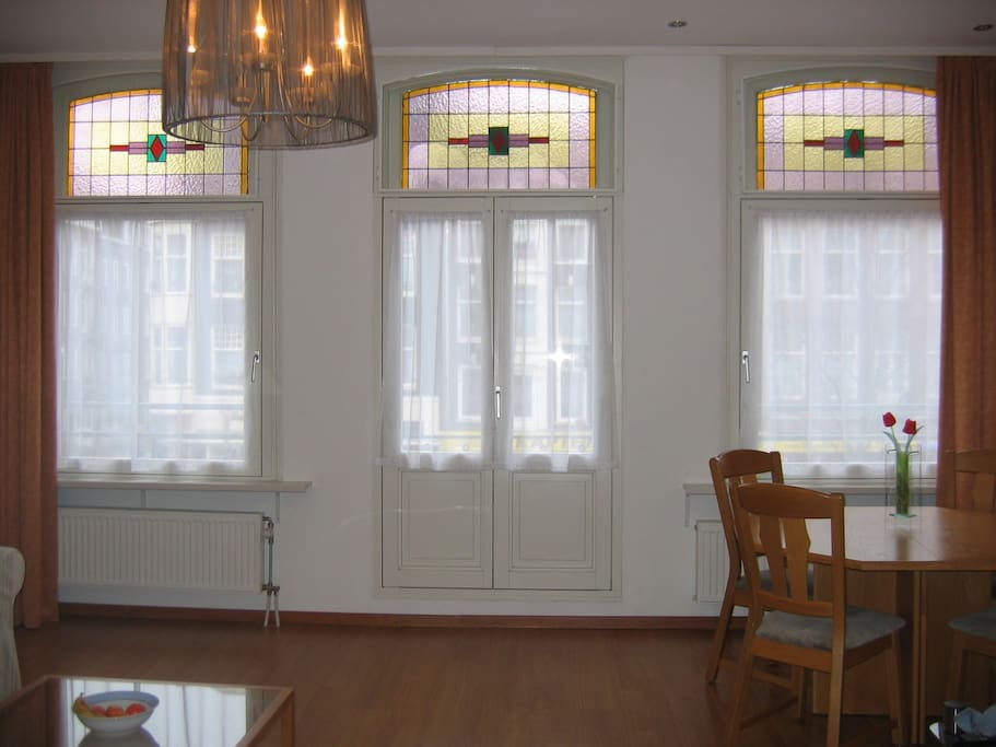 Original stain-glass windows. This apartment is on the city monument list!