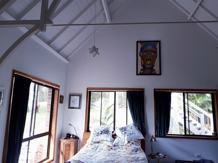 The large main bedroom has a queen size bed and there is plenty of space for a folding bed for extra guests.