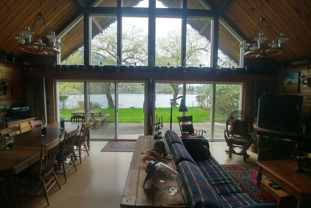 view of the lake from inside the cottage
