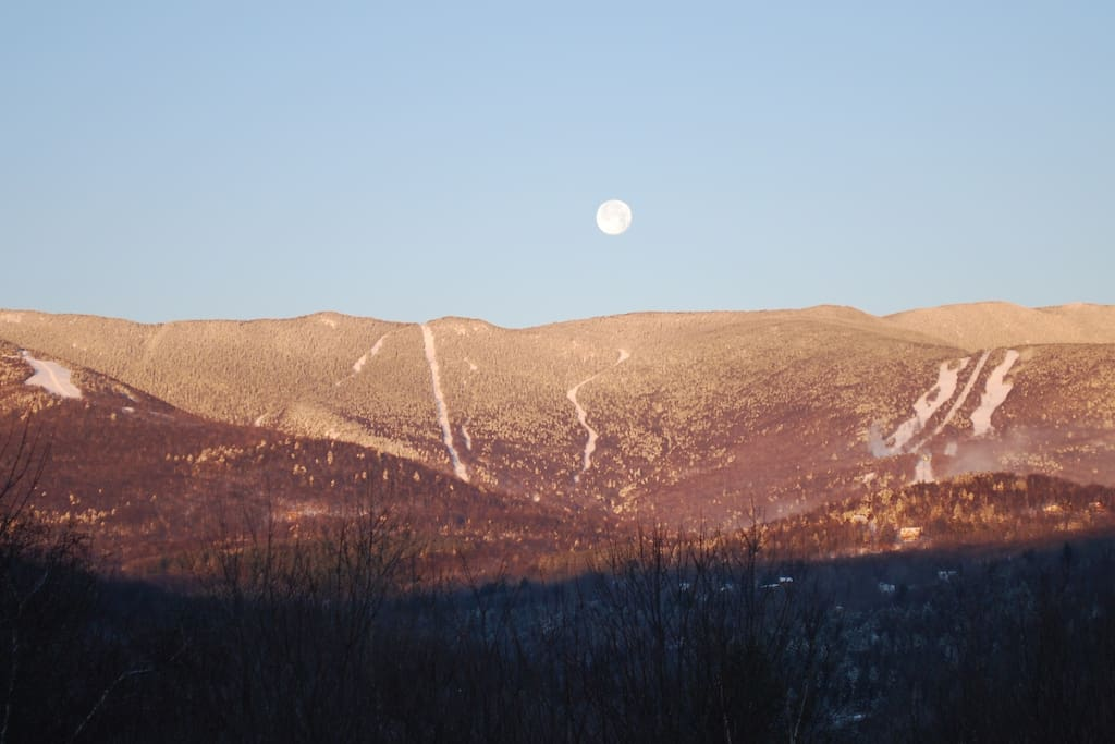 Moonset over Sugarbush.View from the Living Dining area.