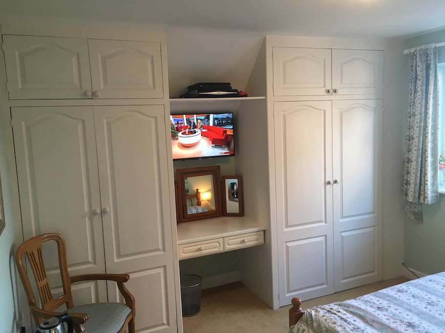 Wardrobes and TV with Full SKY package