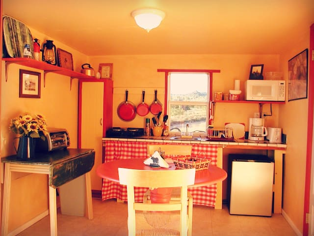 Cow Camp kitchen with view of the Caprock