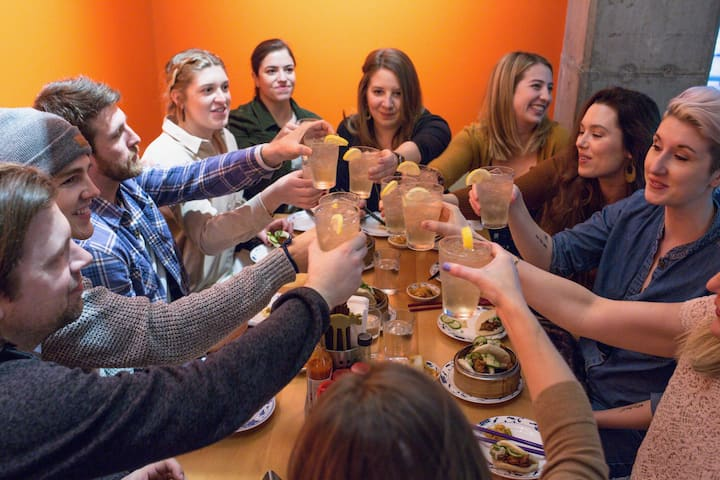 Cheers to food and friends you'll meet
