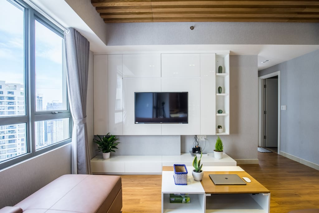 Living room with smart TV can connect wifi, city view