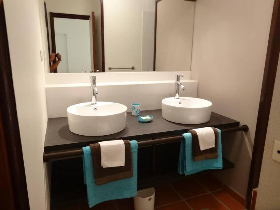 Salle de bain avec douche italienne et toilette - studio au 1er étage