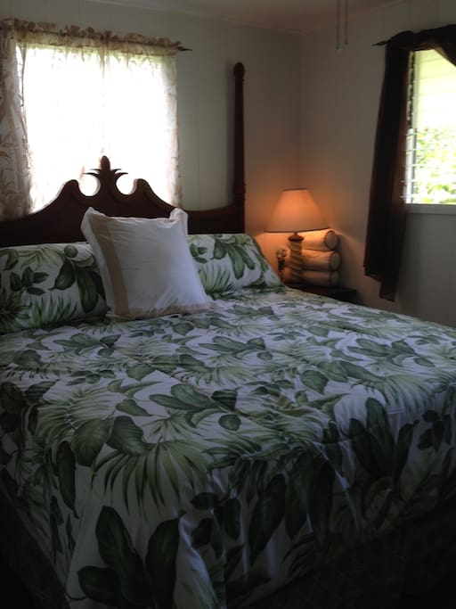 King size bedroom with AC and TV