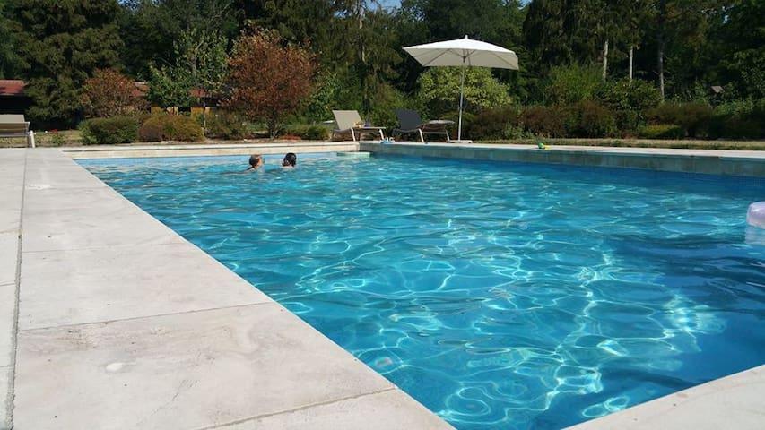 Gîte cosy avec piscine extérieure  en forêt