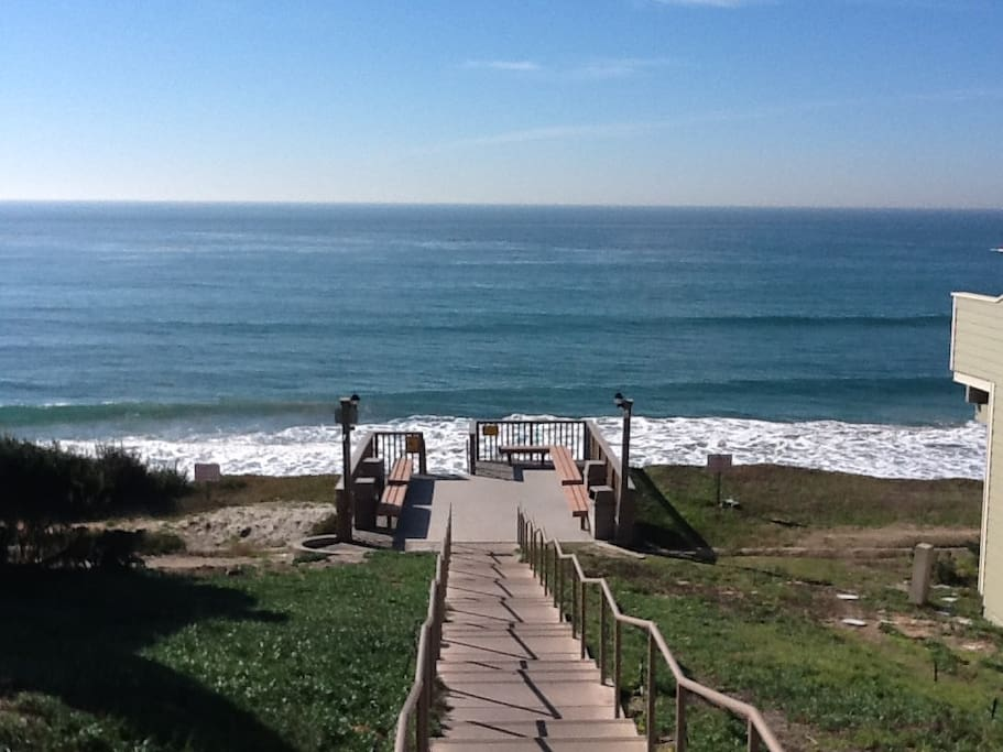 View from private steps to great beach