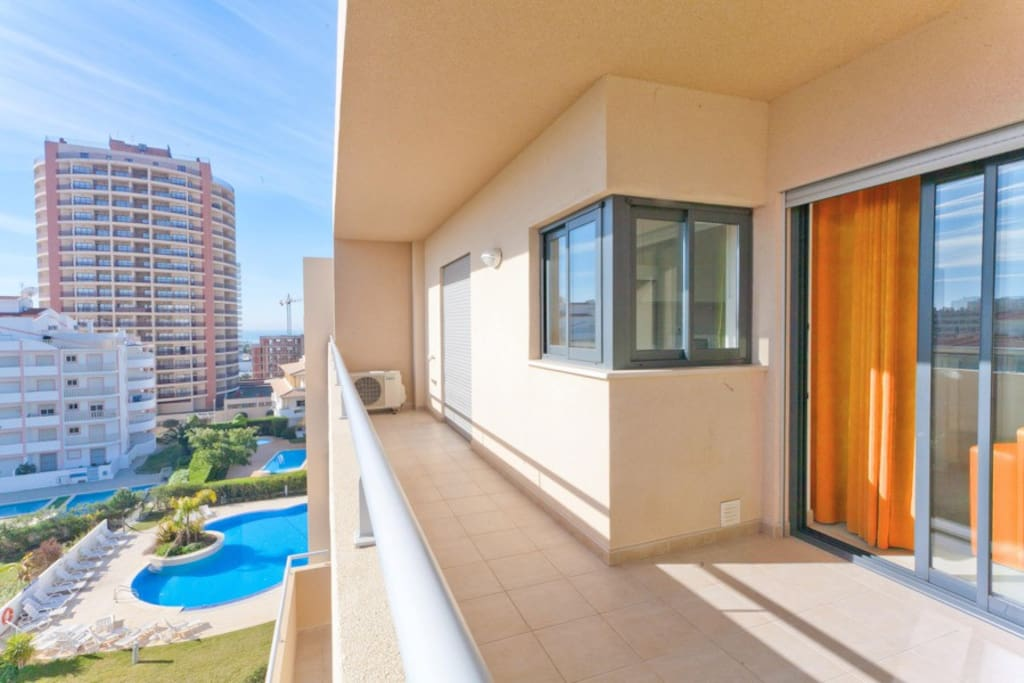 balcony view - all apartments have a set of outdoor table and chairs.