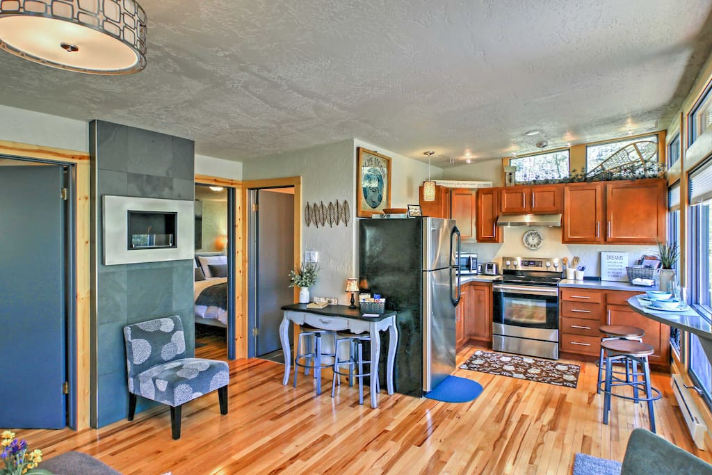 The recently renovated cabin features a vibrant, open-concept living space.