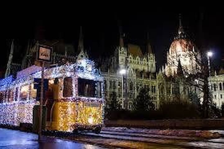 The Parliament with the Christmas Tram