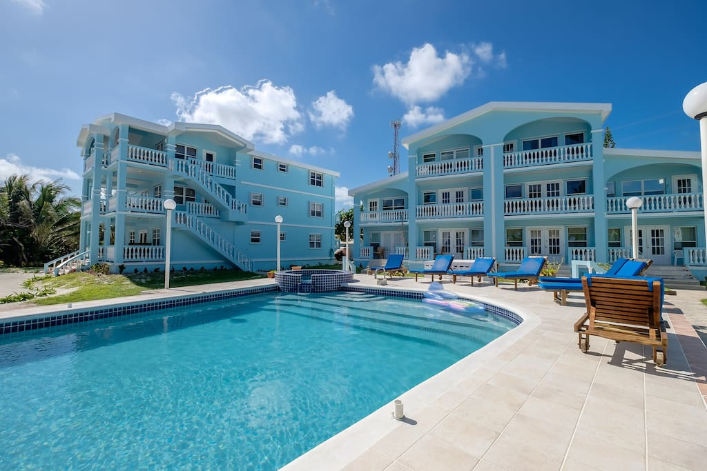View of Building B and Building A from private pool for Sunset Beach guests only!