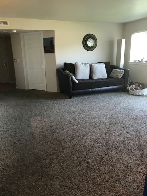 Spacious Living room. Could easily fit an air mattress.