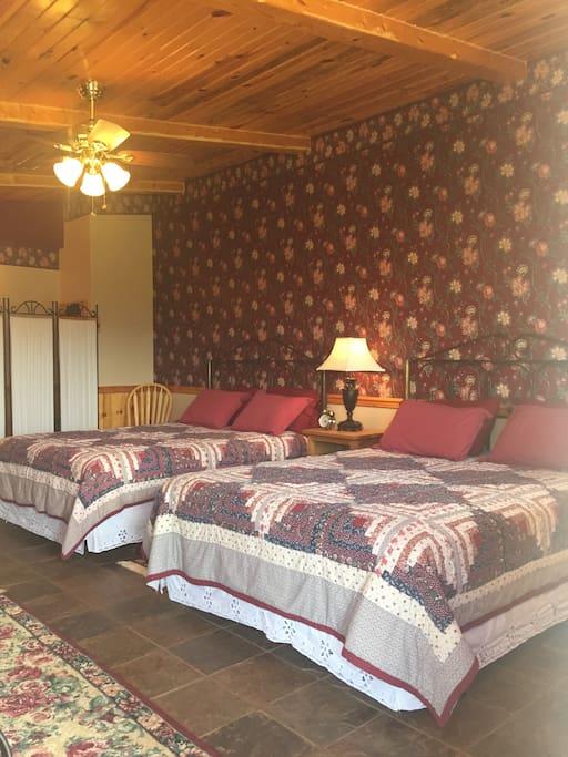 Two comfortable queen beds.
