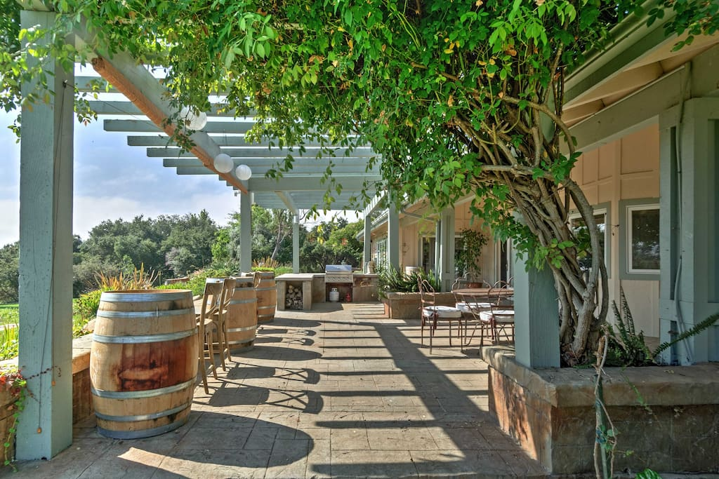 The Ranch is situated on 20-ac property with views of hillsides and grape vines.