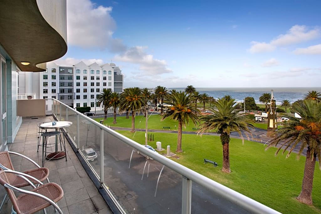 12 metre balcony over look st Kilda beach and forshore. The other building you can see if the St Kilda Novotel.