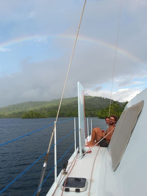 Guests under the rainbow, at Marovo Lagoon