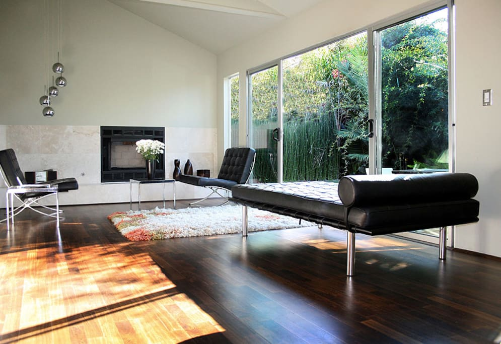Living room with sliding doors to private patio/garden