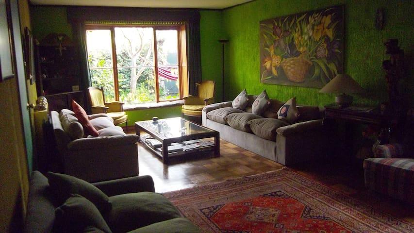 Living room con piano.