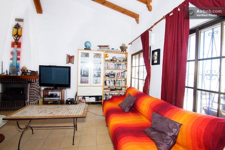 Living room with dining area, chimney, English and German books, wide screen tv, dvd, nintendo Wii, music instruments and comfortable Sofas