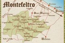 Cartina del territorio del Montefeltro con le sue principali città.
