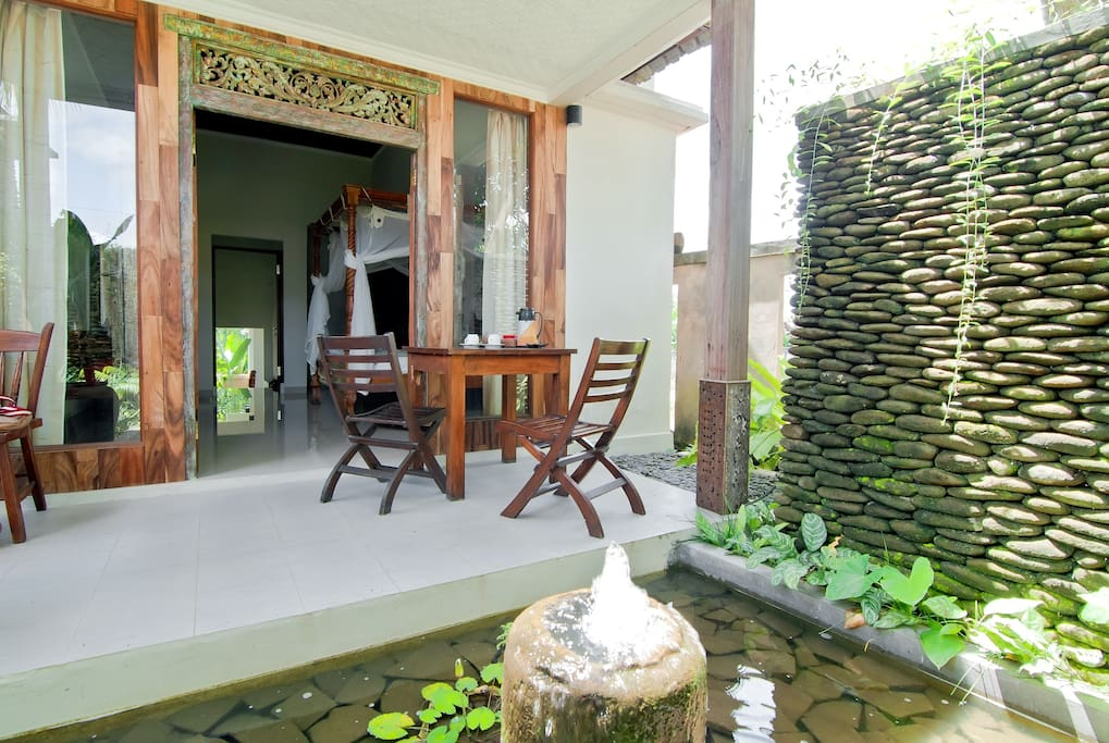 Balcony of Balinese Village Cottage with Pool