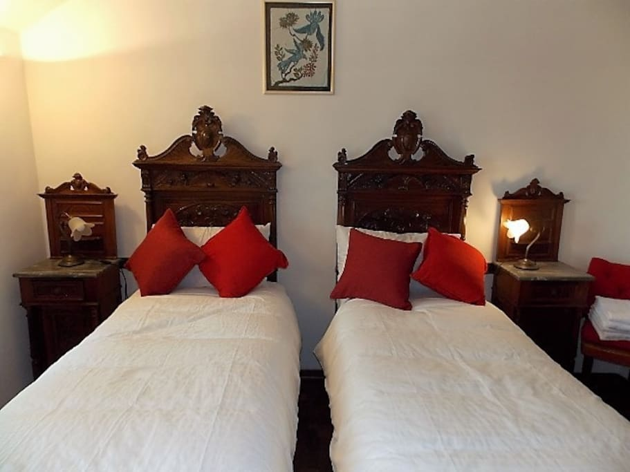 2 single beds with attached bathroom
