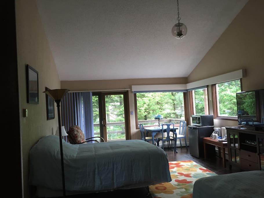 Another view of the master suite showing the vaulted ceiling.