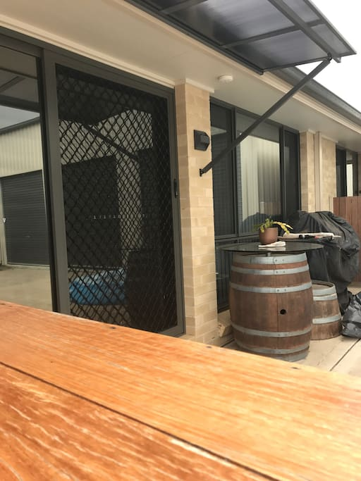 Entree in to flat that also features an outdoor  hand made timber bar if you wish to enjoy a drink outside.