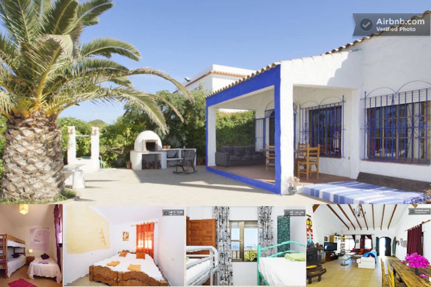 The beach front villa with 4 bedrooms, 2 bathrooms, a big salon and fully equipped kitchen