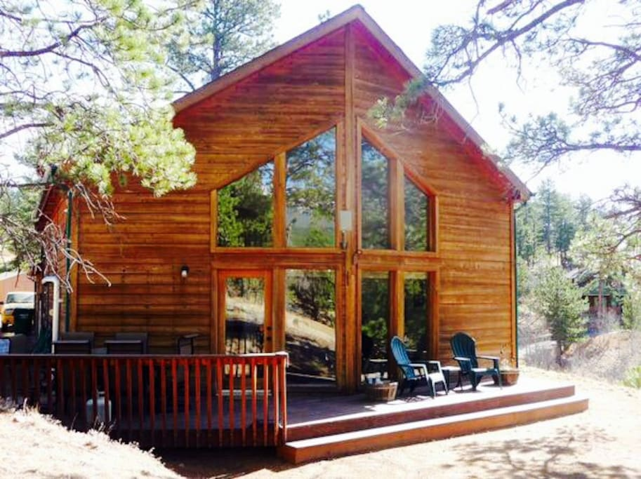 Comfortable mountain home with deck area for relaxing and enjoying the mountain views.