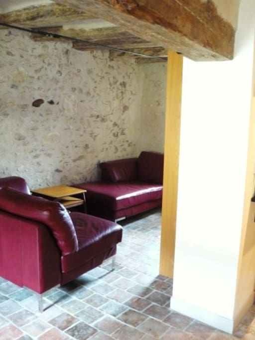Seating area with UK Freeview TV, DVD/CD player