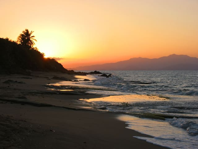 Sunset on sea glass beach, just a one-minute walk from Casa Ladera