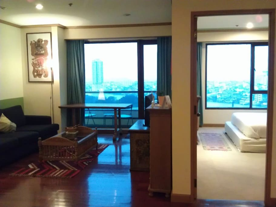 View : Living Room on the left and Bedroom on the right, with Chaopraya River