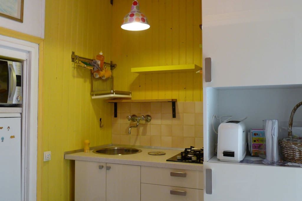 fitted kitchen : sink, gas stove, oven