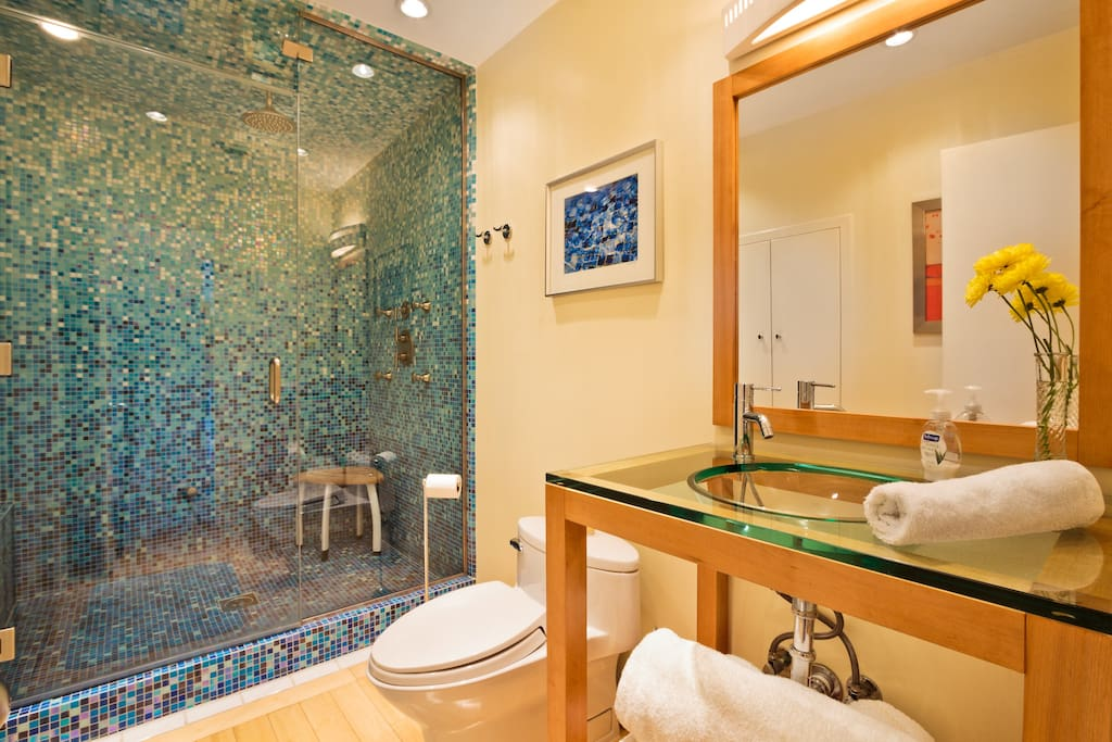 Your own private bathroom, with a walk-in steam room shower!