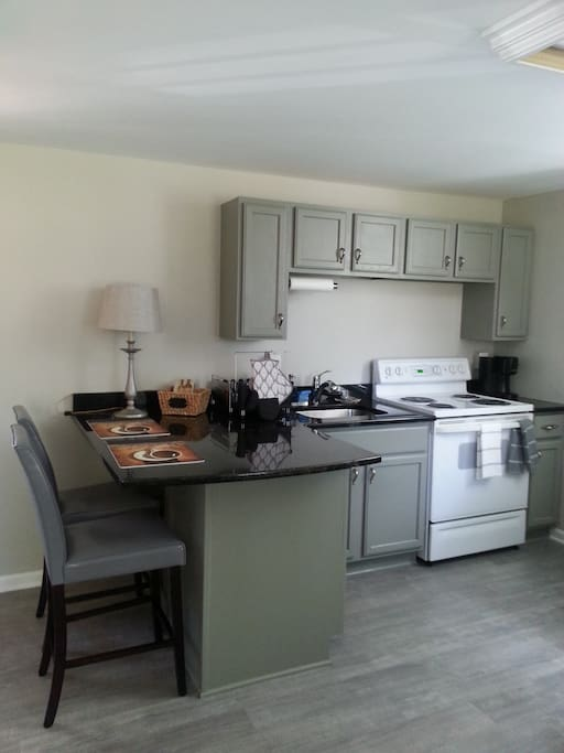 Fully stocked kitchen and breakfast bar