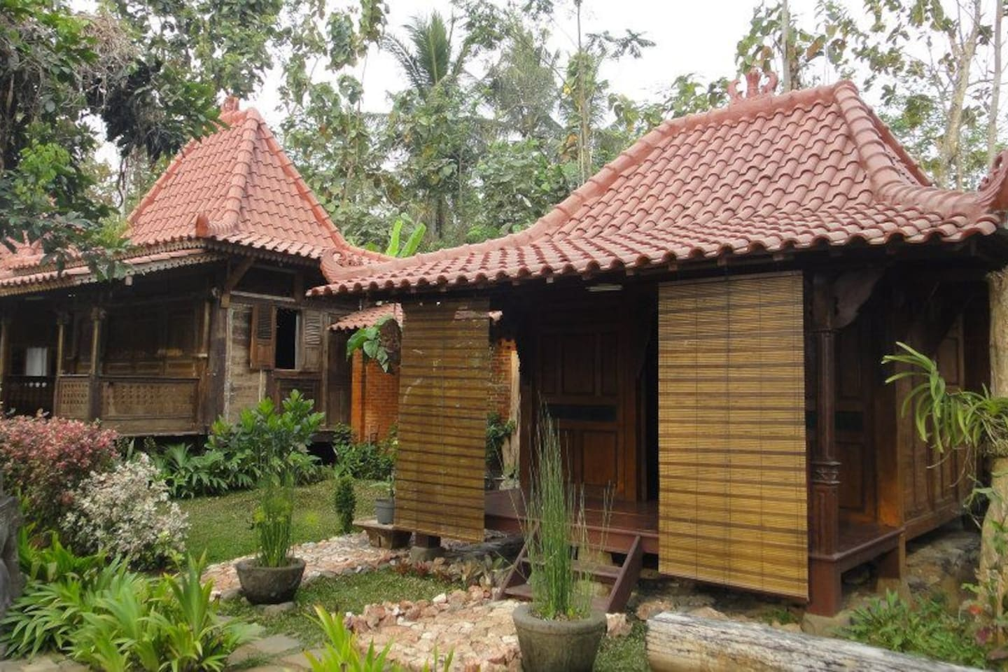 This is the house or bungalow look like. Indonesian traditional house. (Joglo style)