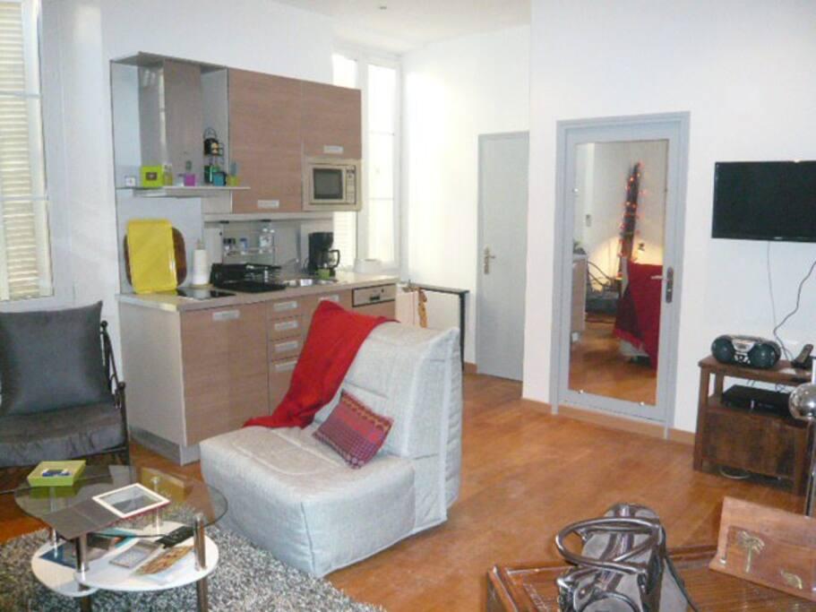 Kitchen- sofa for single people- door with mirror leading to the bathroom-door on the left toilet