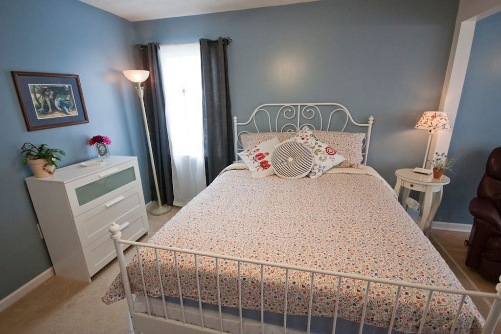 Queen size bed and dresser for clothes available.